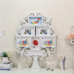 New 67*47cm White Family Tree Shaped Photo Frame Wall Mount Collage 6 Pictures Decor