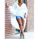 New Plus Size Casual Irregular Hem Batwing Sleeve Women Blouse