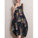 New M-5XL Vintage Patchwork Printed Sleeveless Baggy Dress