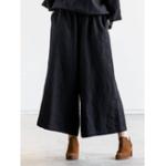 New Retro Women Cotton Linen Loose Elastic Waist Wide Leg Pants