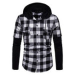 New Men Plaid Hooded Patchwork Dual Pockets Shirts