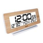 New FanJu FJ3523W Desk Clock Electronic Digital Table Clock LED Wooden Indoor Thermometer Snooze Function Despertador Bedside Clocks