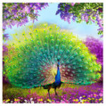 New 5D DIY Cross Stitch Decorations Diamond Embroidery Peacock Opens Screen Painting