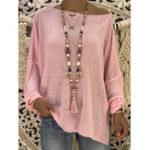 New Women Casual Loose Solid Color Long Sleeve Blouse