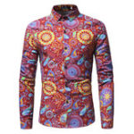 New Mens Casual Turn Down Collar Printing Shirts