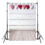 New 5x7FT Vinyl Valentine's Day Heart Wood Floor Photography Backdrop Background Studio Prop