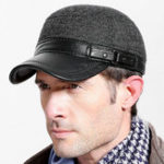 New Mens Winter Felt Flat Top Hat with Ear Protector