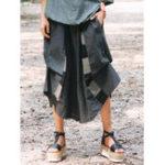 New Women Elastic Waist Cotton Linen Irregular Patchwork Pants