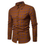 New Mens Casual Breathable Single Breasted Plaid Printing Shirts