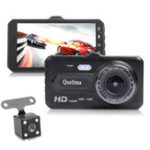 New Quelima 4 Inch 1080P Touch Dual Lens Car DVR Camera Night Vision 170 Degree Wide