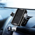 New Joyroom Leather Surface Qi Wireless Fast Charge Gravity Auto Lock Car Holder for Samsung Mobile Phone