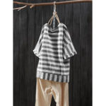 New Women 3/4 Sleeve O-neck Casual Loose Stripe Blouse