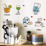 New Cartoon Kitchen Wall Sticker Refrigerator Door Decals Creative Decorative Stickers Food Fruit Removable Wall Sticker On The Wall
