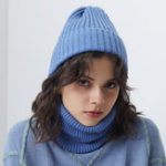 New Men Women Winter Warm Knit Hat Collar Set Beanie Scarf