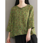 New Floral Print Round Neck 3/4 Sleeve Women Blouse