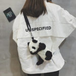 New Women Velour Panda Shape Hip-hop Bag Shoulder Bag
