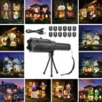New 12 Pattern Outside LED Projector Light Atmostphere Light Landscape Laser Lamp Halloween Kid Gift