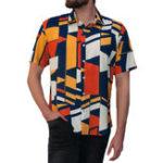 New INCERUN Mens Geometric Printing Short Sleeve Fit Shirts