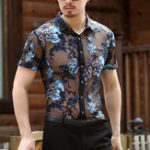 New Mens Slim Openwork Embroidered Plus Size Short Sleeve Shirts
