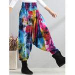New Retro Women Color-block Folk Style Elastic Waist Pants