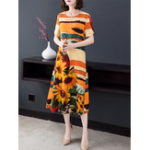 New Women Elegant Floral Print Short Sleeve Dress
