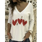New Women Casual Heart Print V-Neck Long Sleeve T-Shirts
