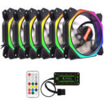 New Coolmoon 6PCS 12cm Multilayer Backlit RGB Cooling Fan with IR Controller for Desktop PC