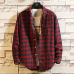 New Mens Cotton Plaid Design Fit Comfy Casual Long Sleeve Shirts