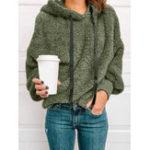 New Women Fleece Casual Solid Color Hooded Sweatshirt