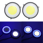 New 3.5 Inch Round COB LED Daytime Running Lights Car Driving Fog Turn Lamp 6.5W 1200LM Dual Color