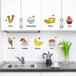 New Creative Kitchen Wall Sticker Desert Cartoon Fridge Removable Cute Food Decals Wall Art Waterproof Cupboard Tile Decoration