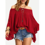 New Women Casual Solid Color Off Shoulder Long Sleeve Blouse