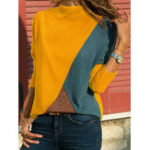 New Women Color Patchwork High Collar Blouse