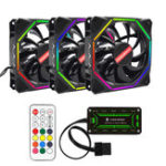 New Coolmoon 3PCS 12cm Adjustable RGB Cooling Fan with IR Controller for Desktop PC