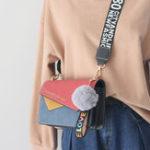 New Women Faux Leather Stitching Color Shoulder Bag