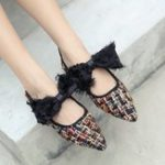 New Large Size Knitting Bow Casual Flats Shoes For Women
