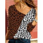 New Women Patchwork Leopard Print Blouse