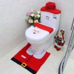 New Creative Santa Toilet Seat Covers Toilet Sets Toilet Clothes Christmas Decorations Bath Mat Holder Closestool Lid Cover