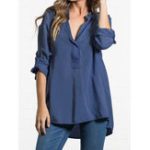 New Women V-neck Adjustable Long Sleeve Loose Denim Blouse