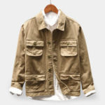 New Mens Vintage 100% Cotton Multi Pockets Buttons Fly Coats