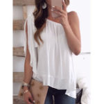 New Women Solid Color Off Shoulder  Sleeveless Chiffon Blouse
