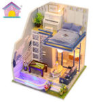 New Hoomeda M042 DIY Doll House Miniature Furniture Kit Model Sapphire Love 21CM Collection Gift