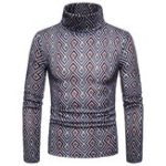 New Men Colorful Geometric Patterns High Collar Pullovers