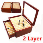 New 20 Pieces Fountain Pens Holder Wooden Pen Display Case With Antique Wind Red Color Container