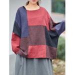 New Plus Size Vintage Patchwork Batwing Sleeve Women Blouse