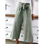New Women Casual Solid Color High Waist Wide Leg Pants