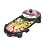 New 2 In 1 Electric Barbecue Grill Teppanyaki Cook Fry Pan BBQ Oven Hot Pot Kitchen