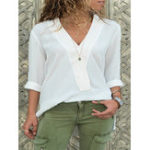 New Women Solid Color Casual V-Neck Long Sleeve Blouse