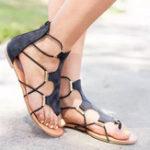 New Large Size Roman Bandage Sandals Zipper Closure