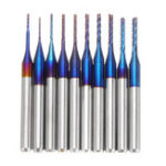 New Drillpro 10pcs 0.6-1.5mm Blue NACO Coated PCB Bits Carbide Engraving Milling Cutter For CNC Tool Rotary Burrs